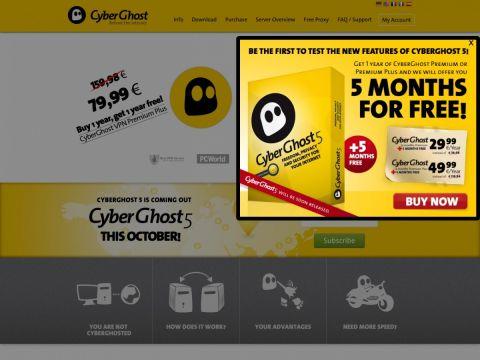 Website cyberghostvpn.com des VPN Anbieters CyberGhost