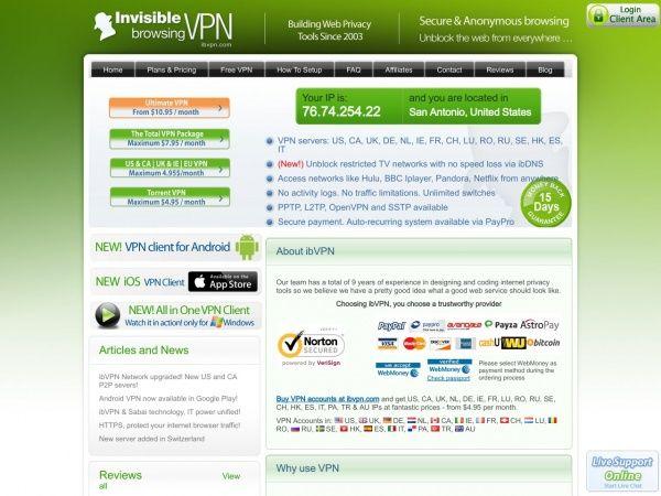 Website ibvpn.com des VPN Anbieters ibVPN