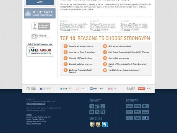 Website strongvpn.com des VPN Anbieters Strong VPN